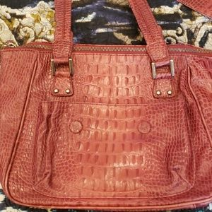Two piece Fiona Kotur Muses merlot colored tote.